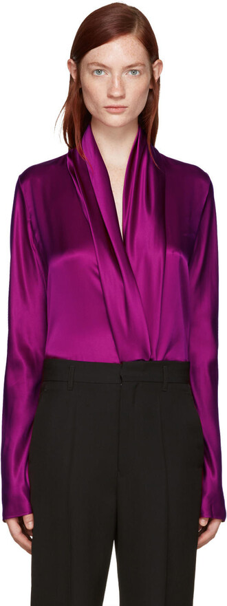 blouse draped silk purple top