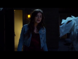 jacket lucy hale aria montgomery pretty little liars denim jacket jeans denim shredded light blue