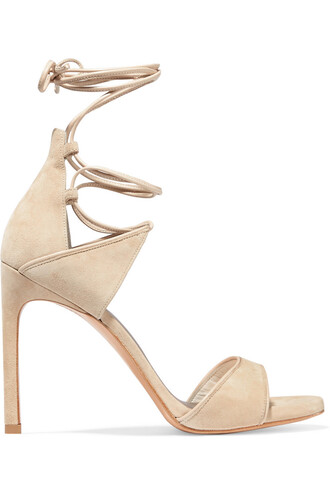 sandals leather suede beige shoes