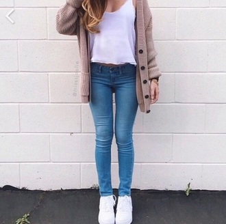 cardigan jeans tank top clothes white sneakers