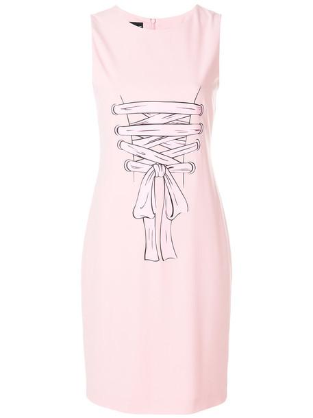 BOUTIQUE MOSCHINO dress print dress women spandex print purple pink