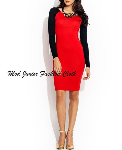 mini dress bodycon dress color block red dress black dresses midi dress