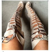 shoes,lace up,sandals,nude,high knee,nude lace up over  knee heel boots,suede boots,gladiators,lace-up shoes,thigh high boots,knee high heels,knee high,suede heels,suede