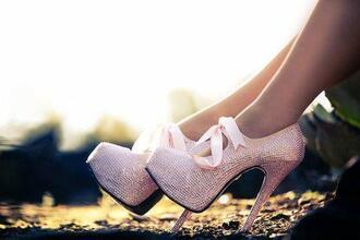 shoes pumps pink strass high heels pink pumps diamonds bow heels glitter booties ribbon heels
