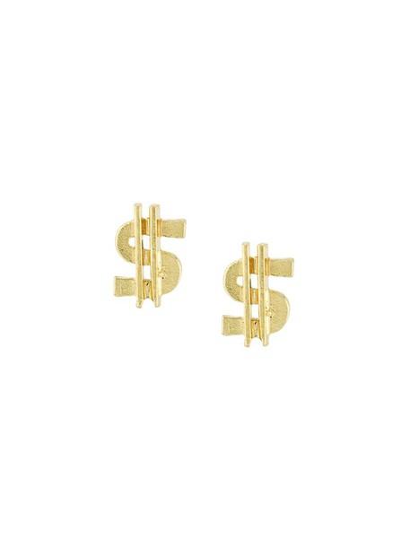 Carolina Bucci women money earrings gold grey metallic jewels