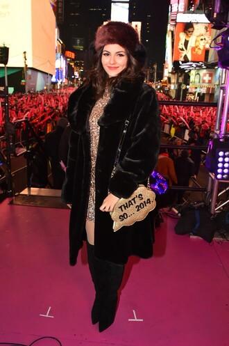 coat fur fur coat victoria justice purse dress bag fur hat hat winter outfits