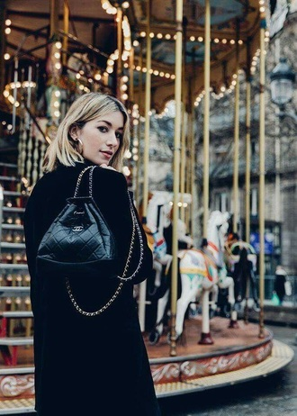 bag chanel gabrielle backpack backpack black backpack chanel bag coat black coat accessory chanel