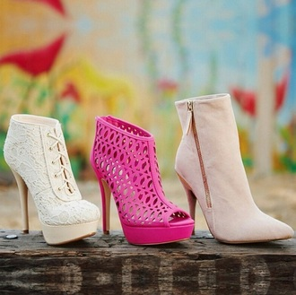 white shoes beige shoes high heels ankle boots beige lace detail pink shoes