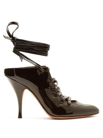 mules lace leather black shoes