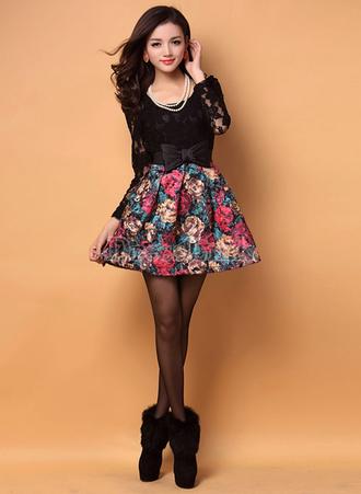 dress cute black black lace lace floral bows