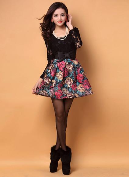 dress black cute cute dress black lace lace floral bows