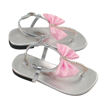 Silver Sandal With Pink Bow - Kids Fashionista