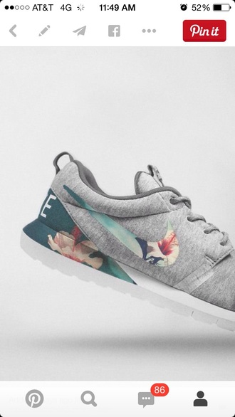 shoes nike floral roshes pinterest grey