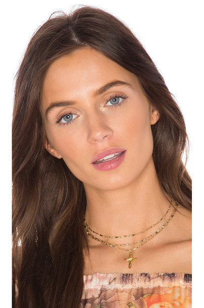 cross necklace cross summer love necklace metallic gold jewels