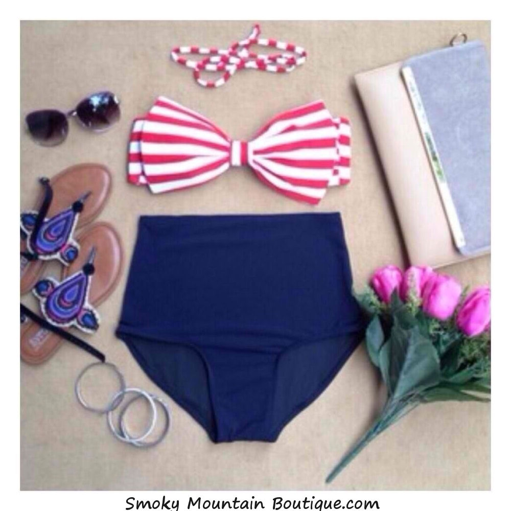 Red and white striped top and navy blue bottoms
