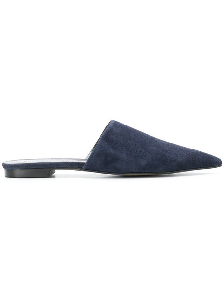 Rebecca Minkoff women classic mules leather blue suede shoes