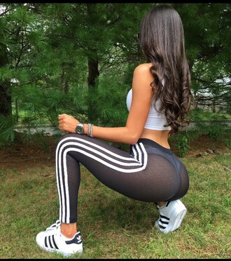 pants jen selter mesh black adidas leggings white stripes yoga yoga pants mesh yoga pants booty see through workout mesh leggings sweatpants