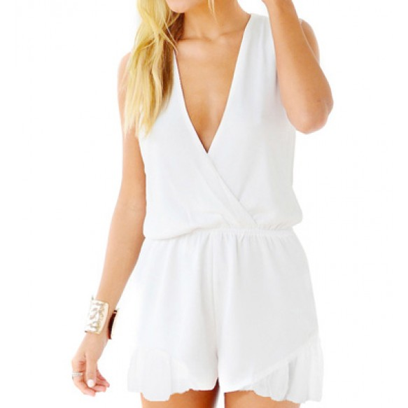 Wrap Front Chiffon Playsuit With Frill Hem