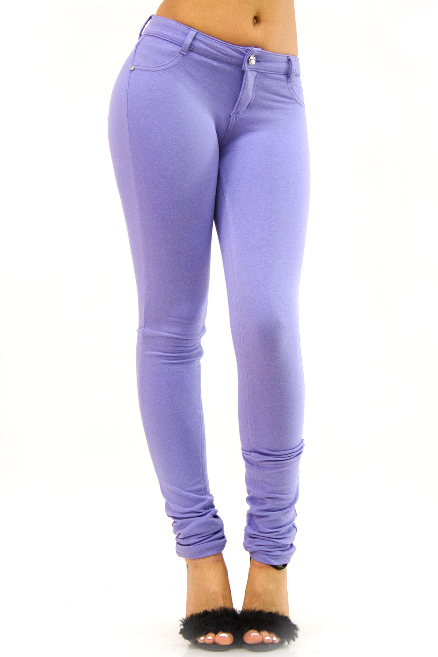 Lavender low rise skinny pants