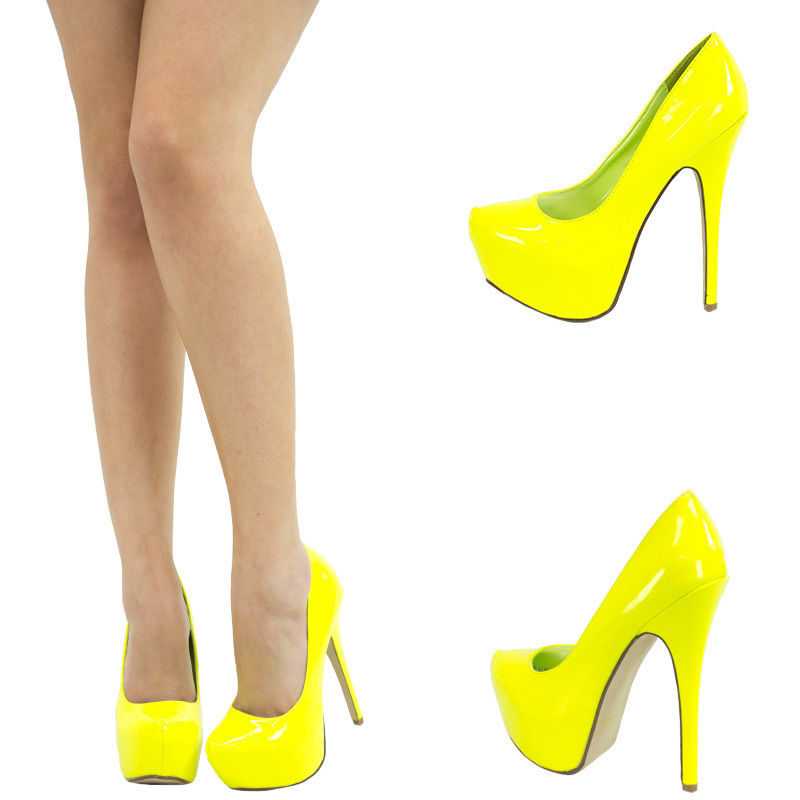 Neon Yellow Almond Toe Sky High Heel Hidden Platform Stiletto Womens Pump Sandal | eBay