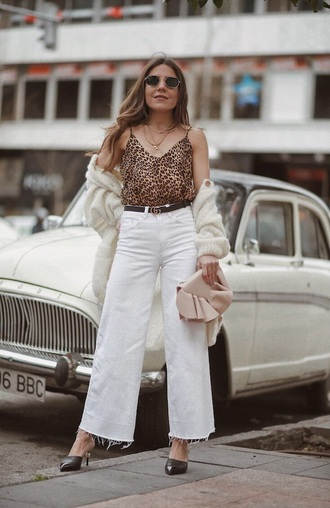 top white jeans culottes white culottes denim culottes mules cardigan camisole leopard print jeans heels