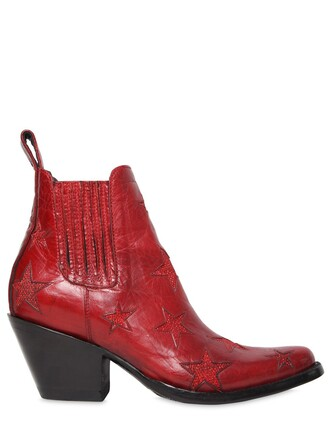 leather ankle boots boots ankle boots leather stars red shoes