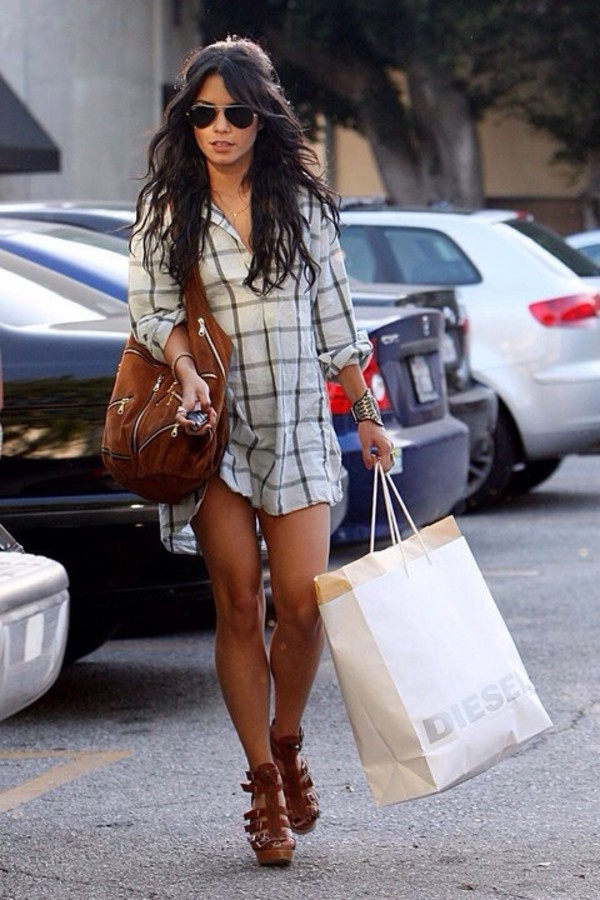 shirt vanessa hudgens plaid shirt plaid celebrity sunglasses bag girl tumblr shoes