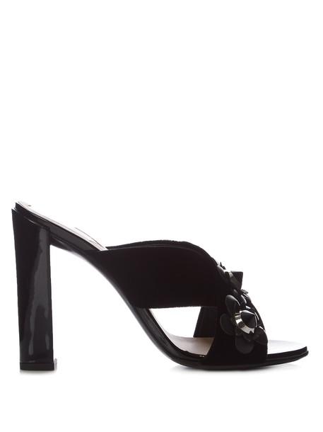 Fendi mules leather black shoes