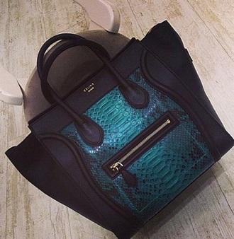 bag neon teal handbag celine celine bag