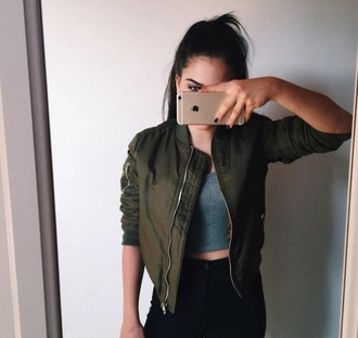 jacket bomber jacket khaki green army me pls you tumblr grunge tumblr outfit pale aesthetic tumblr pale grunge khaki bomber jacket green green bomber jacket