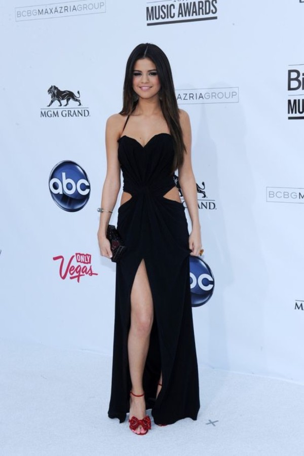 selena gomez cutout black evening dress billboard music