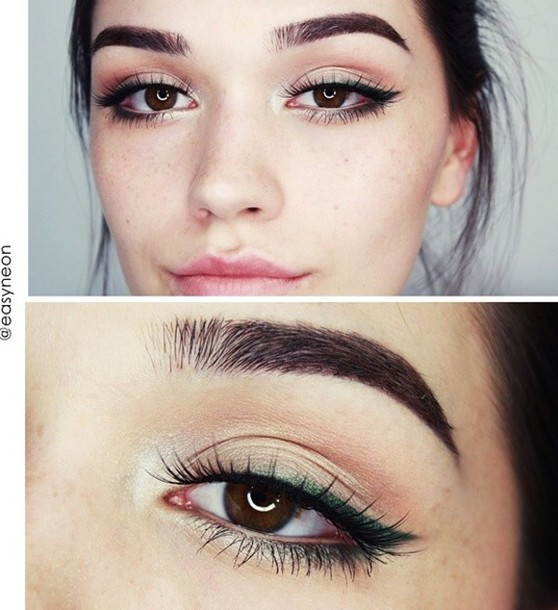 make-up eyeliner eye shadow green gold shimmer top