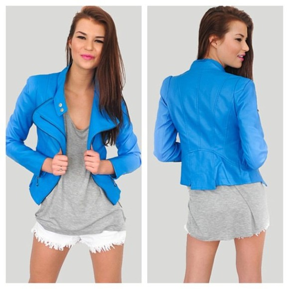 jacket motorcycle jacket blue closet whore closet-whore.com haute couture