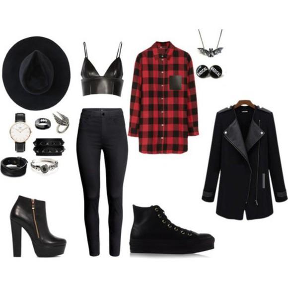 blouse tartan top goth punk grunge