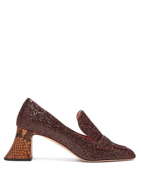 heel glitter embellished pumps burgundy shoes