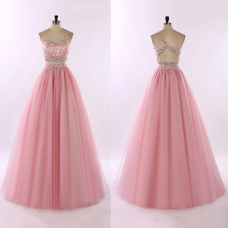 dress prom prom dress pink pink dress crystal maxi maxi dress style fashion trendy girly sparkle shiny love friend wedding bride bridesmaid engagement ring backless