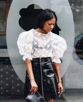 top,tumblr,stars,white top,puffed sleeves,skirt,mini skirt,zipped skirt,vinyl,vinyl skirt