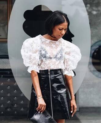 top tumblr stars white top puffed sleeves skirt mini skirt zipped skirt vinyl vinyl skirt