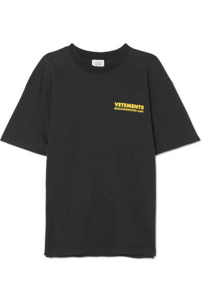 Vetements t-shirt shirt t-shirt oversized metal cotton black top