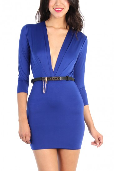 OMG Deep V Neck Mid-Sleeve Dress - Blue