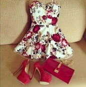 red heels,pumps,floral dress,mini dress,roses,red bag,chain bag,sweetheart dress,summer,red,high heels,heels,velvet,bag,wedding guest,dress,floral,pretty,white,shoes,white dress,flowers,peplum,strapless dress,gorgeous,summer outfits,short dress,cocktail dress,red high heels,rose dress,rose print dress,white with roses,gold leafs,red dress,red shoes,style,short prom dress,red floral bustier dress,floral white dress and high heels,cute dress