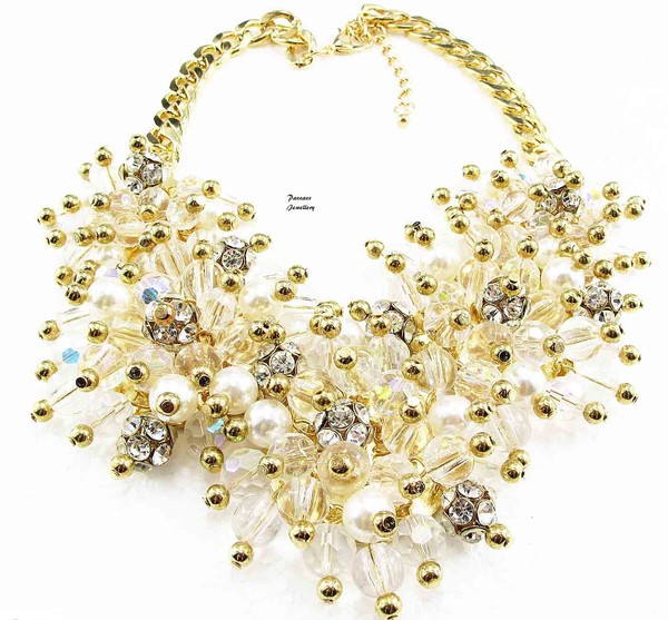 jewels pearl crystal gold chain necklace crystal quartz pearl necklace crystal and pearl statement necklace