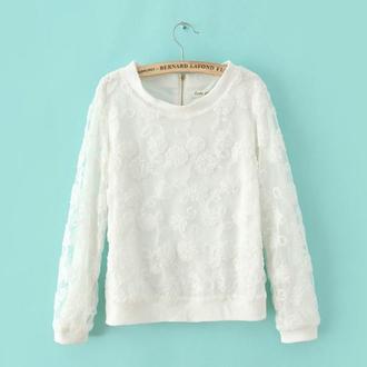 blouse white lace top top lace sweatshirt