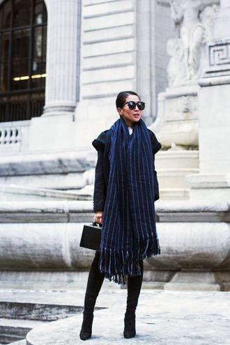scarf tumblr oversized oversized scarf boots black boots sunglasses bag black bag handbag blue scarf stripes