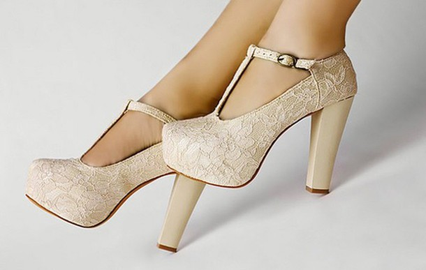 Cream Lace High Heels - Shop for Cream Lace High Heels on Wheretoget