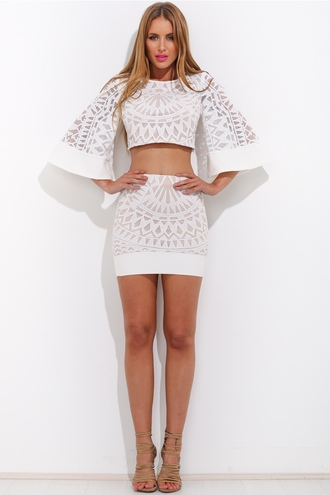 top wide arm wide arm top half sleeve top white panel lace lace print lace skirt matching set top and high waisted skirt crop crop tops high neck lace top white see through sheer high waisted high waisted skirt crop top and skirt shirt