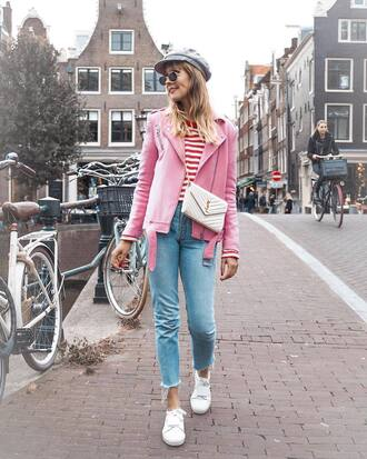 shoes tumblr sneakers white sneakers jeans denim blue jeans jacket pink jacket top stripes striped top bag fisherman cap