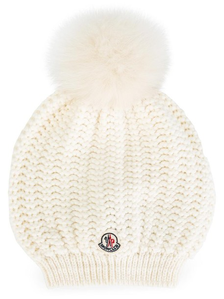 moncler bobble hat fur fox women hat white wool knit