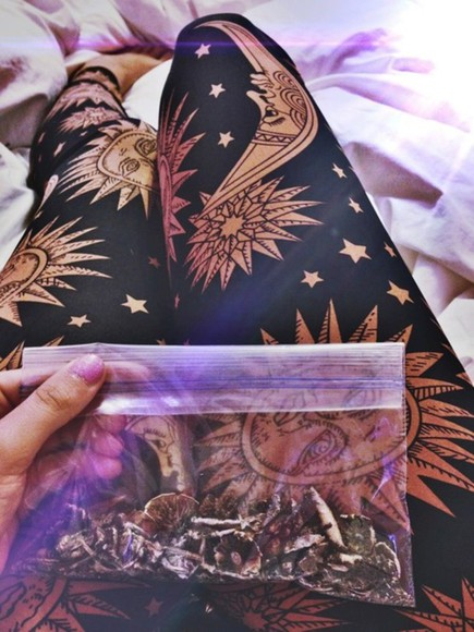 sun pants moon leggings stars hippie boho
