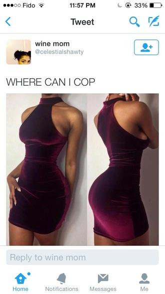 dress short red dress wine red wine colored dress turtleneck dress tight